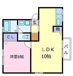 パラシオ北野田B棟 2階1LDKの間取り