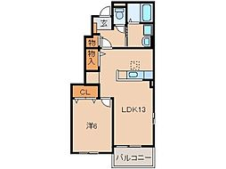 JR和歌山線 岩出駅 徒歩31分の賃貸アパート 1階1LDKの間取り