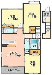 岡山県倉敷市船穂町船穂丁目なしの賃貸アパートの間取り