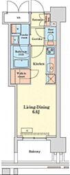 グランドプレシア芝浦 16階ワンルームの間取り