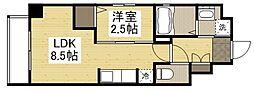 岡山電気軌道清輝橋線 東中央町駅 徒歩6分の賃貸マンション 3階1LDKの間取り