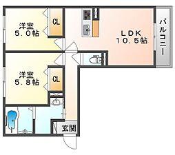JR山陽本線 庭瀬駅 徒歩31分の賃貸アパート 2階2LDKの間取り