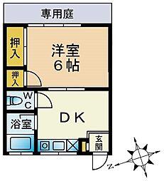 城山ハイツ[1-B号室]の間取り