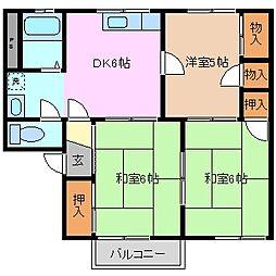 三重県四日市市南富田町の賃貸アパートの間取り