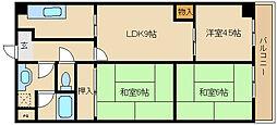 大阪府東大阪市島之内1丁目の賃貸マンションの間取り