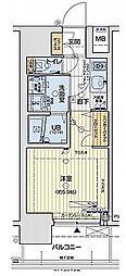 レオンコンフォートNANBAブラン 4階1Kの間取り