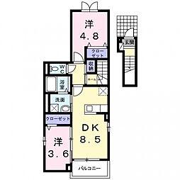 ソレイユ上野[2階]の間取り
