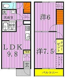 [テラスハウス] 千葉県野田市上花輪 の賃貸【/】の間取り