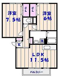 パークサイド西船A[3階]の間取り