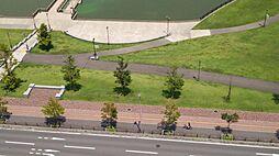 駅前の芝生公園...