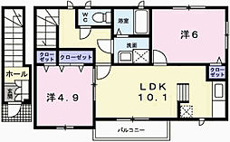 兵庫県姫路市広畑区小坂の賃貸アパートの間取り
