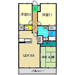 リヴィエール大高[7階]の間取り