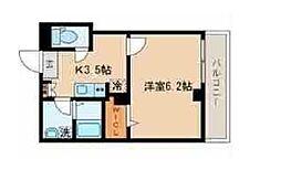 東京メトロ南北線 目黒駅 徒歩8分の賃貸マンション 2階1Kの間取り