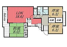 北総鉄道 印西牧の原駅 バス18分 高花2丁目3下車 徒歩1分の賃貸マンション 5階3LDKの間取り