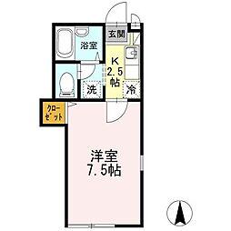 東京都武蔵野市境南町1丁目の賃貸アパートの間取り