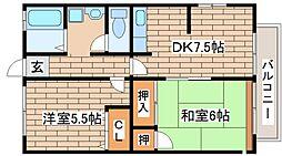 兵庫県神戸市東灘区本庄町1丁目の賃貸アパートの間取り