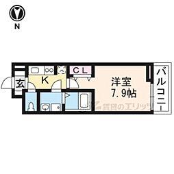JR山陰本線 太秦駅 徒歩8分の賃貸アパート 1階1Kの間取り