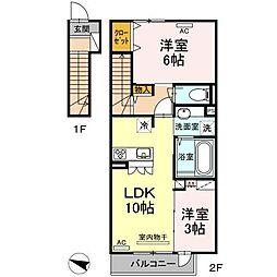 熊本市電A系統 健軍町駅 4.4kmの賃貸アパート 2階2LDKの間取り