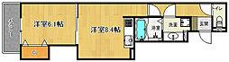 近鉄京都線 東寺駅 徒歩13分の賃貸アパート 3階1LDKの間取り