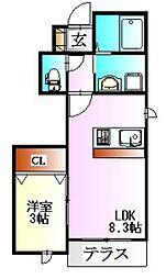 ルシエール三田三番館D棟[1階]の間取り