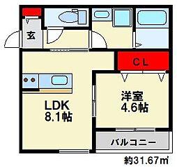 JR博多南線 博多南駅 徒歩7分の賃貸アパート 3階1LDKの間取り