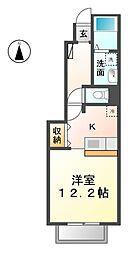 愛知県名古屋市西区上小田井2丁目の賃貸アパートの間取り