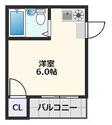 スカイ南清和園マンション 3階ワンルームの間取り