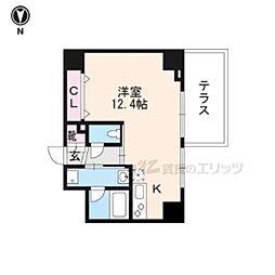 JR山陰本線 丹波口駅 徒歩10分の賃貸マンション 1階ワンルームの間取り