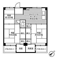 ビレッジハウス葛ノ葉3号棟3階Fの間取り画像