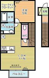 コスモ三萩野[202号室]の間取り