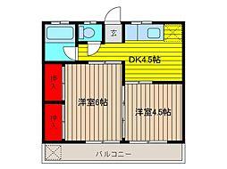 石川コーポ[2階]の間取り
