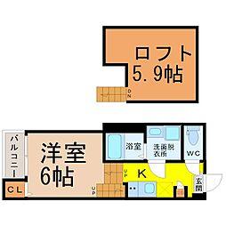 (仮称)中川区荒子五丁目B新築アパート 2階1Kの間取り