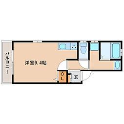 インマーブル武庫川 2階ワンルームの間取り