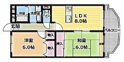 大阪府門真市末広町の賃貸マンションの間取り