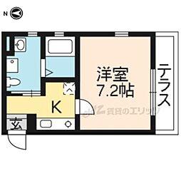 京福電気鉄道北野線 北野白梅町駅 徒歩8分の賃貸マンション 3階1Kの間取り