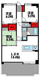 西鉄貝塚線 唐の原駅 徒歩3分の賃貸マンション 6階3LDKの間取り