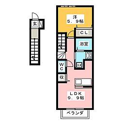 レフィナード フロール エフ[2階]の間取り