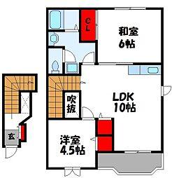 エムボヌール C棟 2階2LDKの間取り