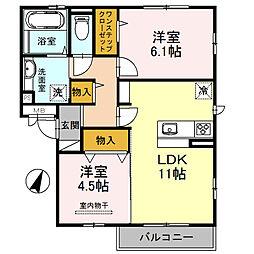大阪府堺市西区上野芝町7丁の賃貸アパートの間取り