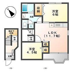 愛知県名古屋市緑区大高町字中ノ島の賃貸アパートの間取り