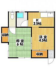 金子荘[1階]の間取り