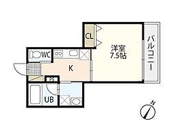 広島電鉄宮島線 古江駅 徒歩6分の賃貸アパート 3階1Kの間取り