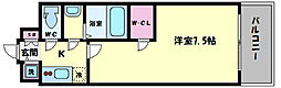 エスリード大阪城PREMIER 2階1Kの間取り