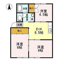 愛媛県松山市余戸東2丁目の賃貸アパートの間取り