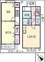 [タウンハウス] 三重県鈴鹿市野町東1丁目 の賃貸【/】の間取り