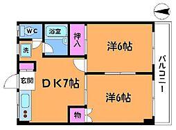 東京都狛江市西野川4丁目の賃貸マンションの間取り