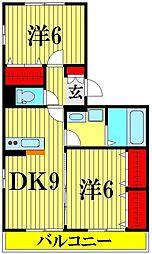 埼玉県越谷市三野宮の賃貸アパートの間取り
