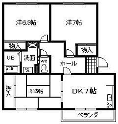 大阪府岸和田市荒木町2丁目の賃貸マンションの間取り