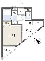 ハイホーム 2階1Kの間取り