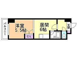 オクタワーズ野幌ウエストタワー 2階1DKの間取り